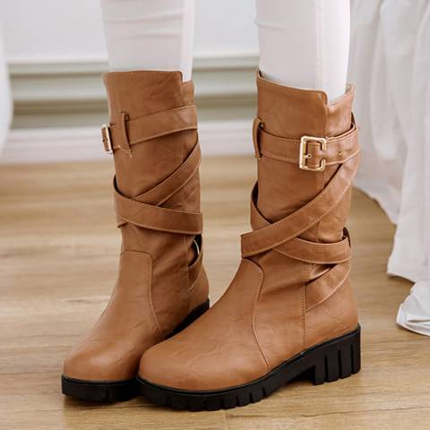 ShoesSee Inc Plain  Flat  Round Toe  Date Outdoor  Mid Calf Flat Boots