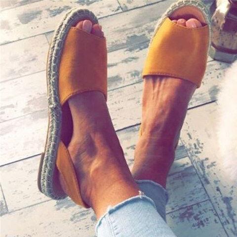 ShoesSee Inc Plain  Flat  Peep Toe  Date Outdoor Flat Sandals