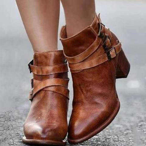 ShoesSee Inc Plain  Chunky  High Heeled  Point Toe  Date Outdoor  Short High Heels Boots