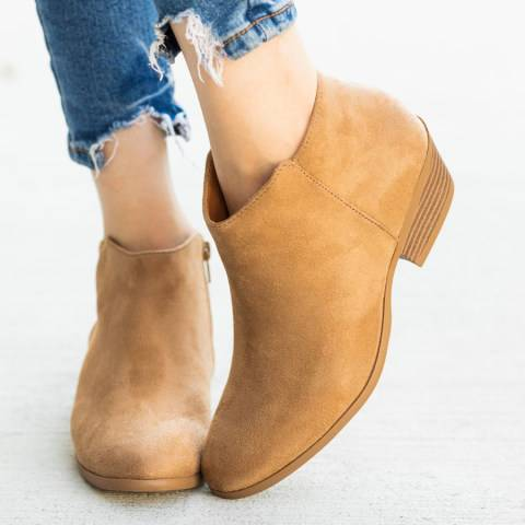 ShoesSee Inc Chunky Mid Heeled Point Toe Date Outdoor Short High Heels Boots