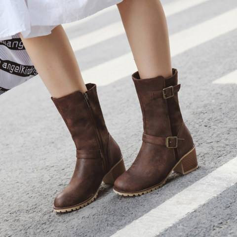 ShoesSee Inc Plain Chunky Mid Heeled Round Toe Casual Outdoor  Boots