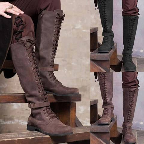 ShoesSee Inc Plain Flat Round Toe Date Outdoor Knee High Flat Boots