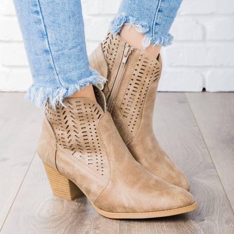 ShoesSee Inc Plain High Heeled Point  Toe Outdoor Ankle Boots