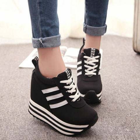 ShoesSee Inc Women's lace-up platform sports shoes