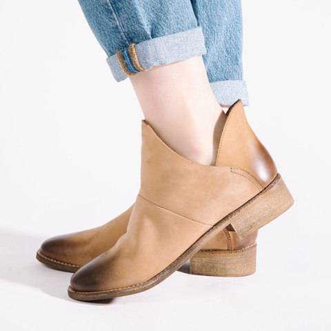 ShoesSee Inc Flat  Round Toe  Date Outdoor  Ankle Flat Boots