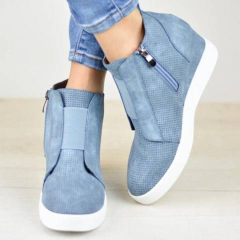 ShoesSee Inc Plain  Invisible  High Heeled  Velvet  Round Toe  Casual Sport Sneakers