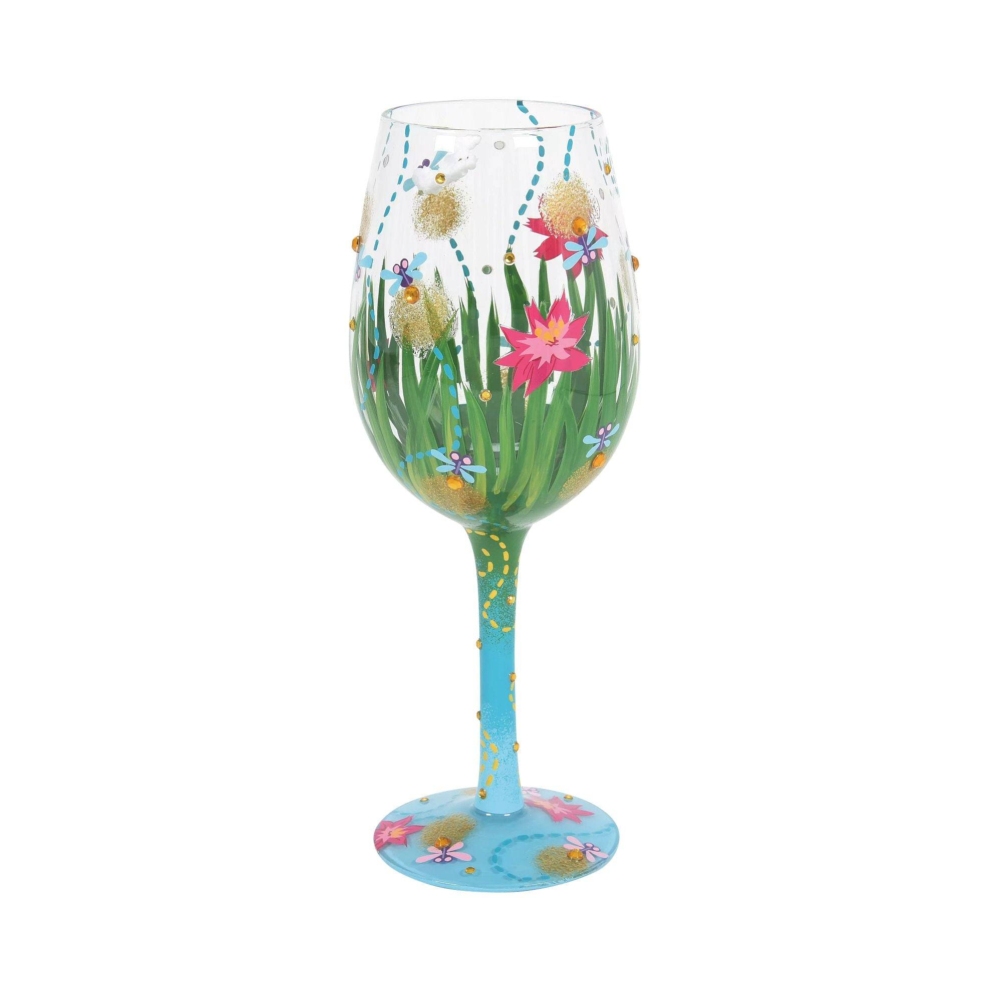 Designs by Lolita Firefly Hand-Painted Wine Glass, 15 oz.