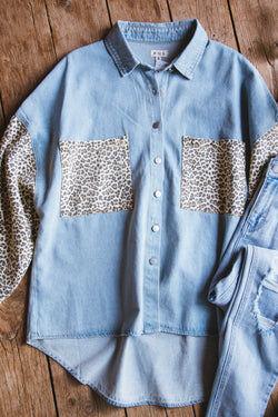 POL Clothing Inc. Erika Leopard Mix Jacket Light Denim   Extended Sizes Available  - Light Denim - S