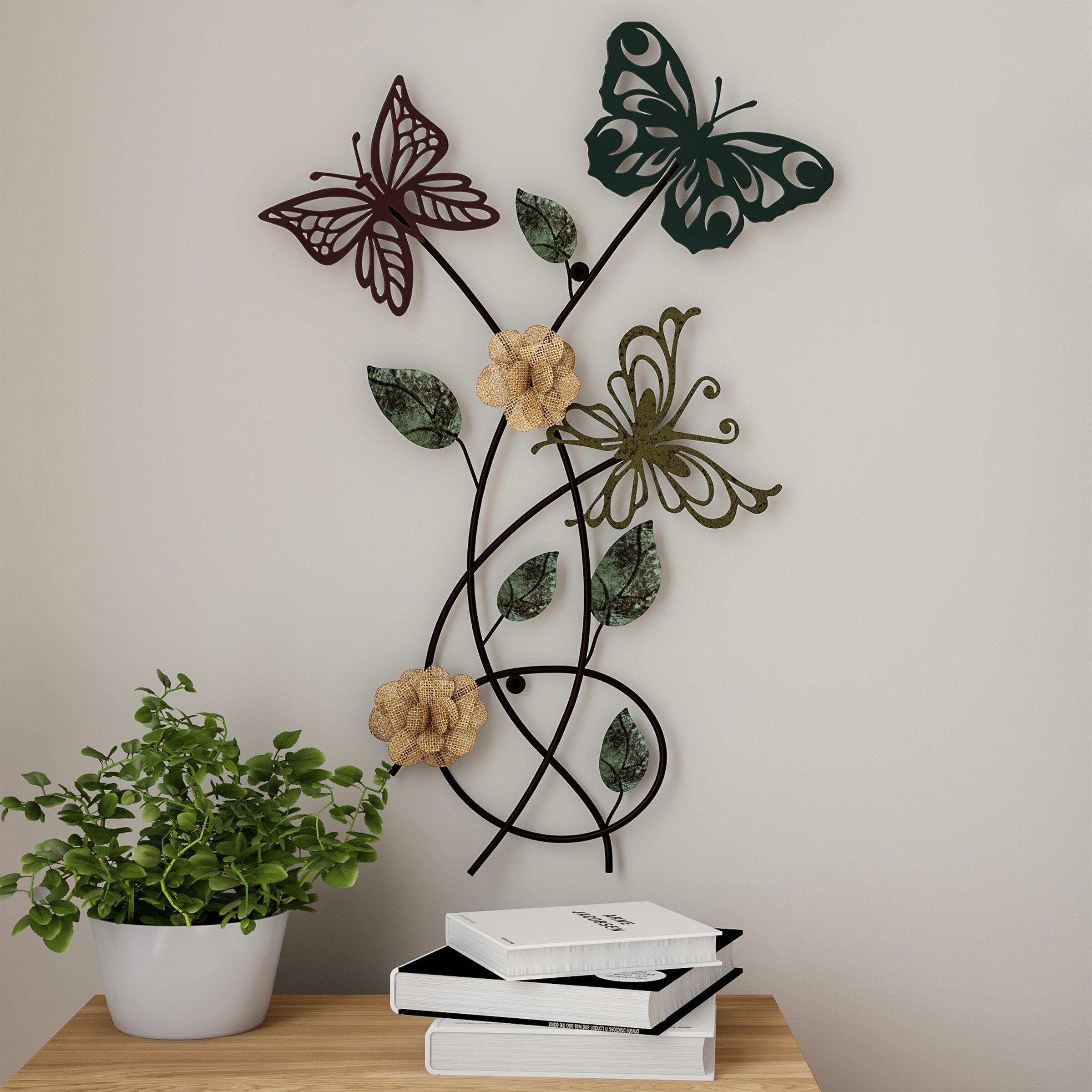 Lavish Home Garden Butterfly Metal Wall Art- Hand Painted Decorative 3D Butterflies/Flowers