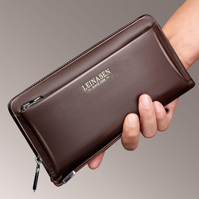 Little Magpies Men's wallet long leather handbag - brown