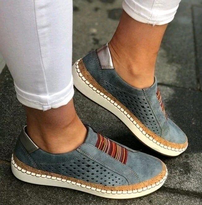 Fashionfresh new women's fashion casual vulcanized shoes single shoes - BLUE, 35