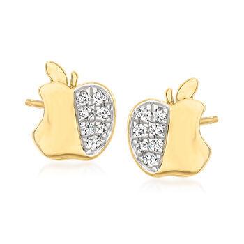Ross-Simons .10 ct. t.w. Diamond Apple Stud Earrings in 18kt Gold Over Sterling