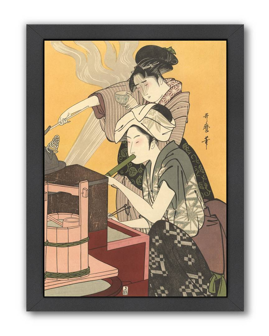 """American Flat Americanflat Japanese Women Cooking by Found Image Press Framed Artwork   - Size: 12"""" x 15"""""""