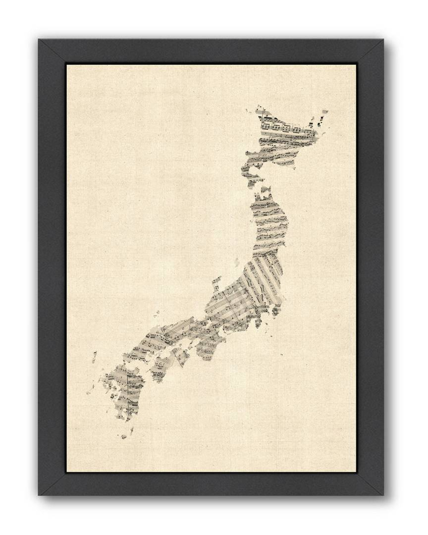 "American Flat Americanflat Old Sheet Music Map Of Japan by Michael Tompsett - Art Pause Framed Artwork   - Size: 19"" x 25"""
