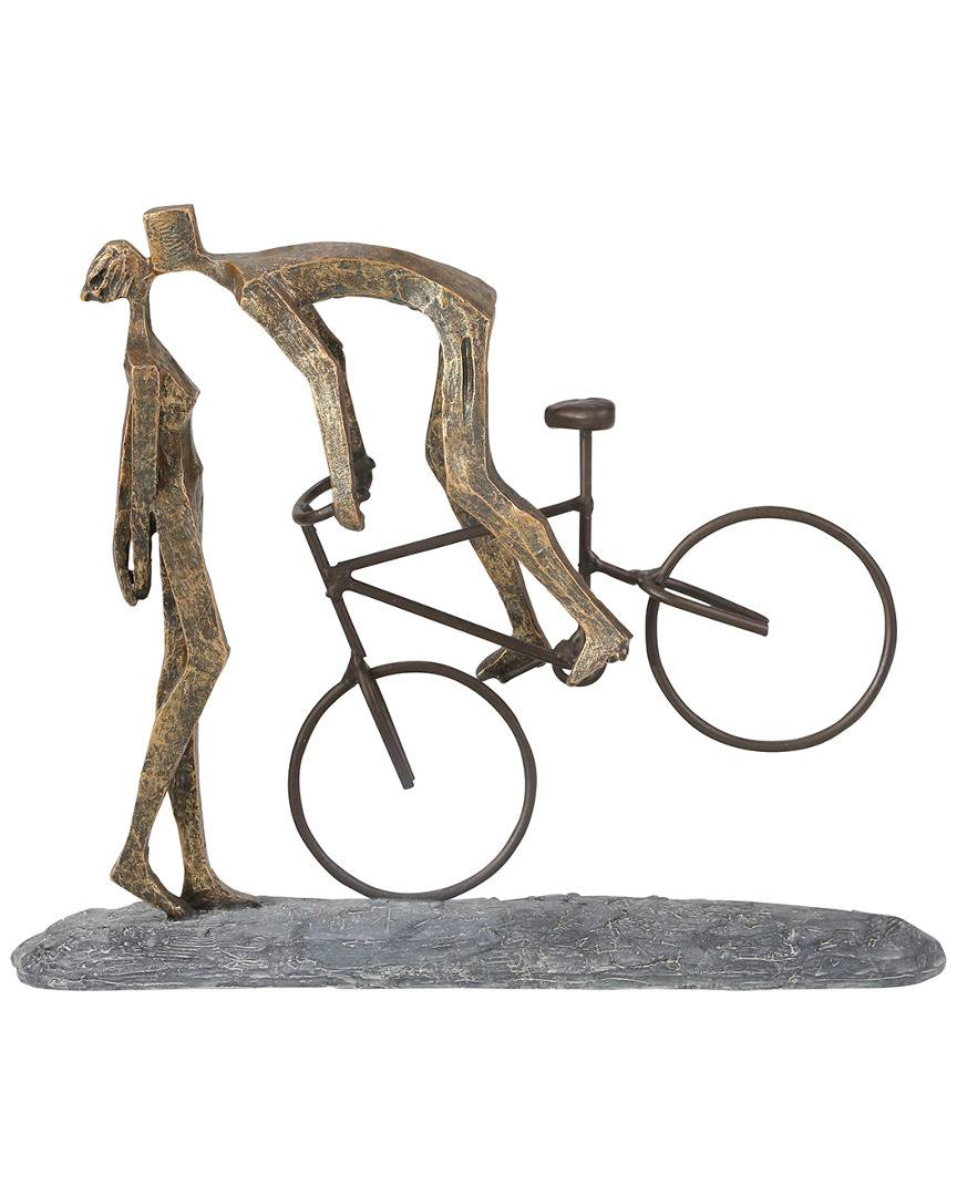 Sagebrook Home PolyResin Kissing Couple with Bike  -Bronze - Size: NoSize