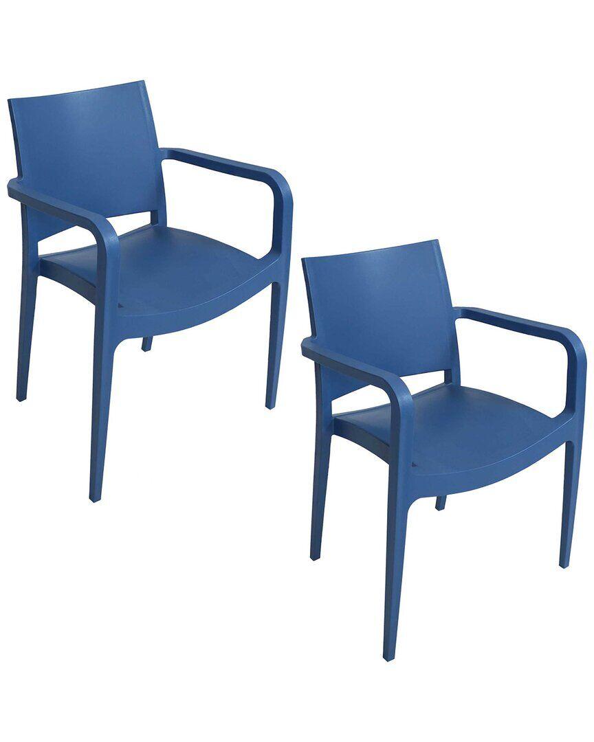 Sunnydaze Landon Indoor Outdoor Plastic Dining Armchair  -Blue - Size: NoSize