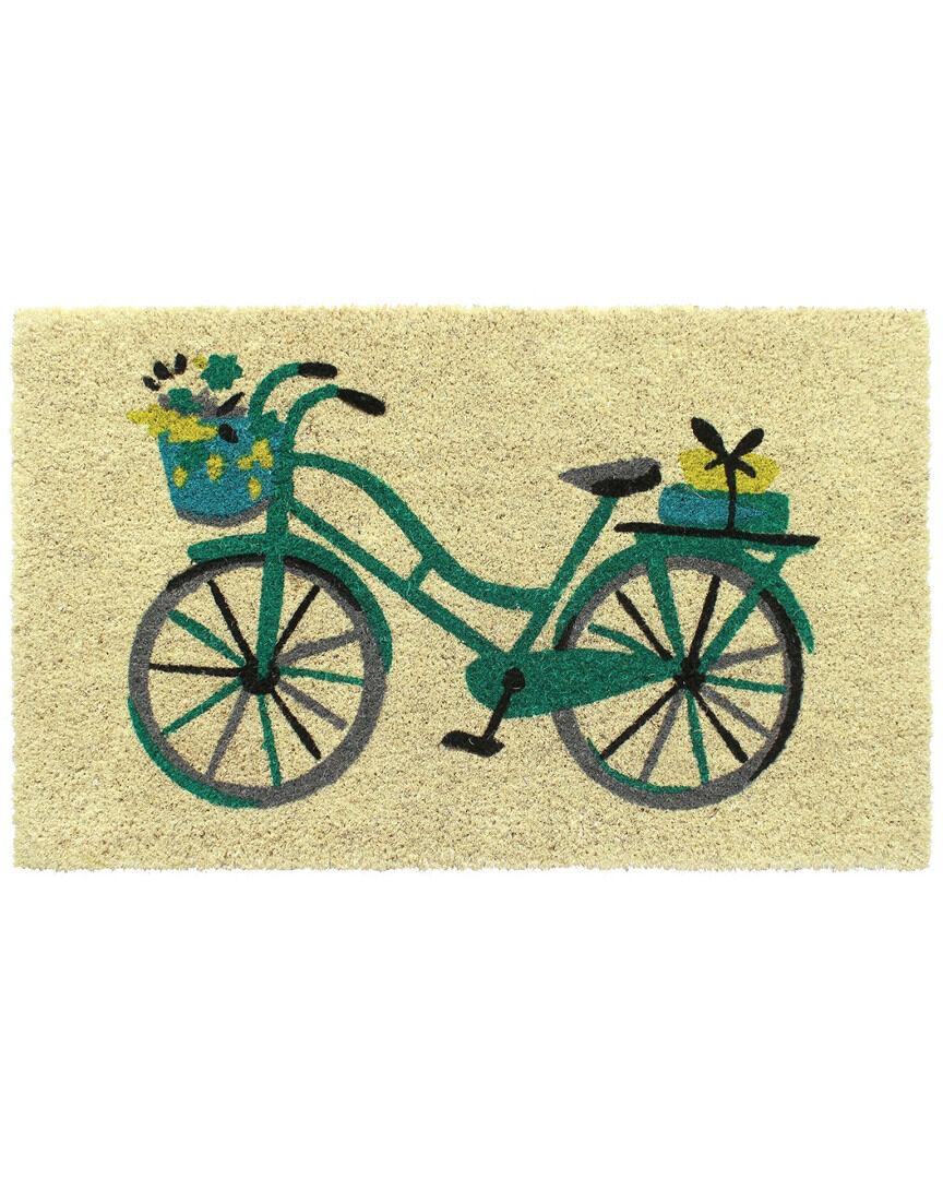 Master Weave Floral Basket Bike Coir Indoor/Outdoor Doormat   - Size: 1' x 2'