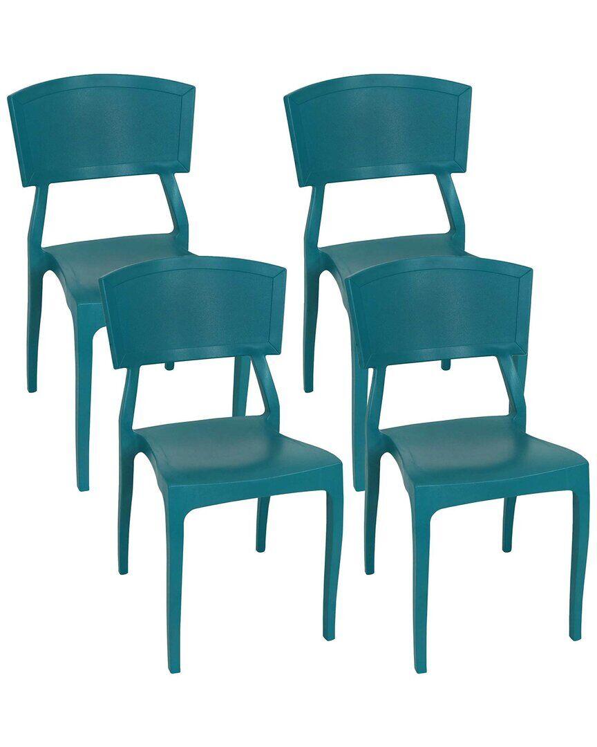 Sunnydaze Elmott Indoor Outdoor Plastic Patio Dining Chair  -Green - Size: NoSize