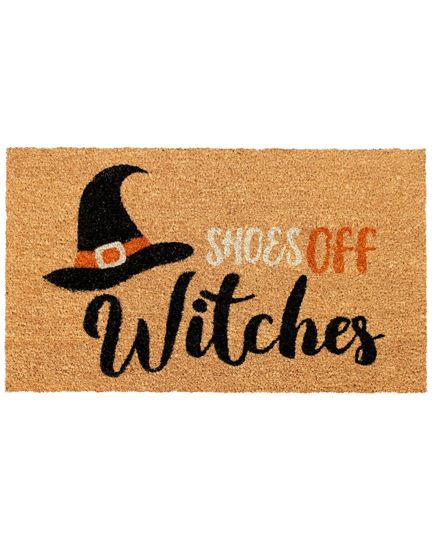 """Master Weave RugSmith Shoes off Witches Indoor/Outdoor Rug  -Natural - Size: 18"""" x 30"""""""