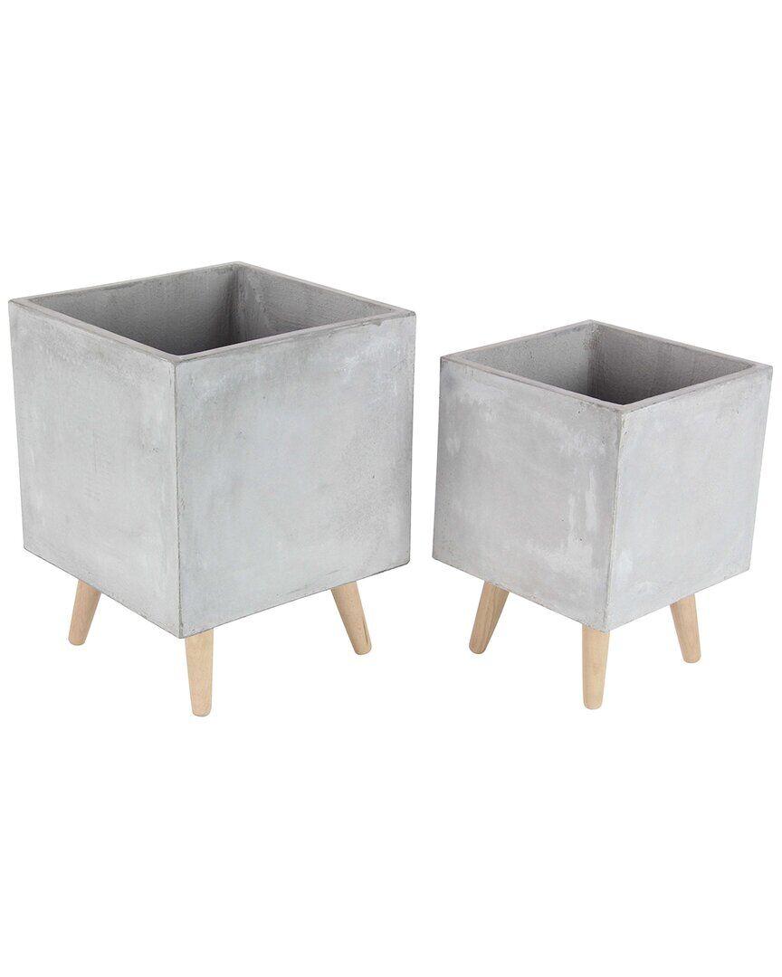 UMA Enterprises Set of 2 Floral Accessories Fiber Clay Planters   - Size: NoSize