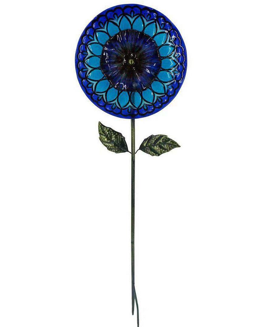 "Peaktop Outdoor 10in Solar Handpainted Sunflower Garden Stake  -Blue - Size: 10"""