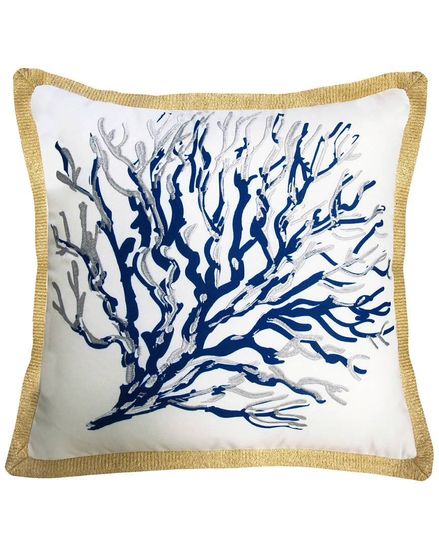 """NYBG New York Botanical Garden Seafan Indoor/Outdoor Square Throw Pillow in Blue  -Multi - Size: 20""""  x  20"""" x 6"""""""