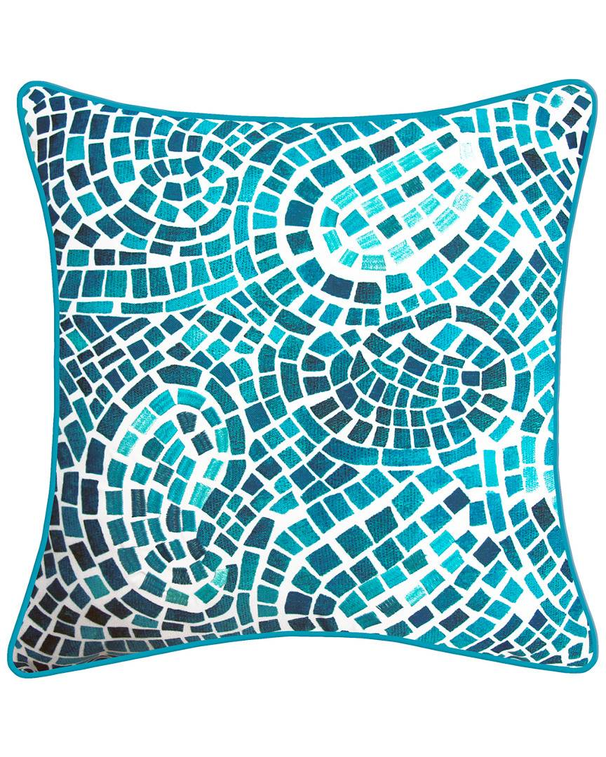 """NYBG New York Botanical Garden Mosaic Indoor/Outdoor Square Throw Pillow in Blue  -Multi - Size: 20"""" x 20"""" x 6"""""""
