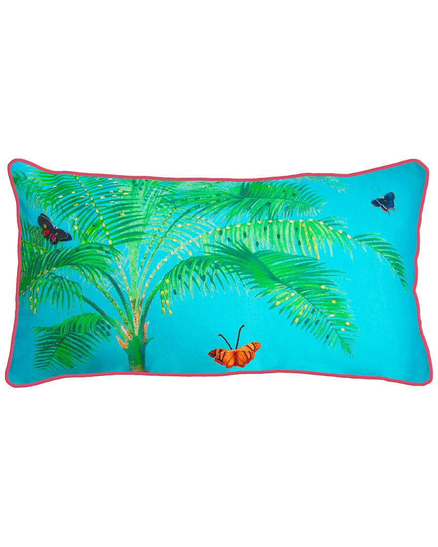 """NYBG New York Botanical Garden Butterfly Palm Indoor/Outdoor Oblong Pillow  -Multi - Size: 14"""" x 26"""" x 6"""""""