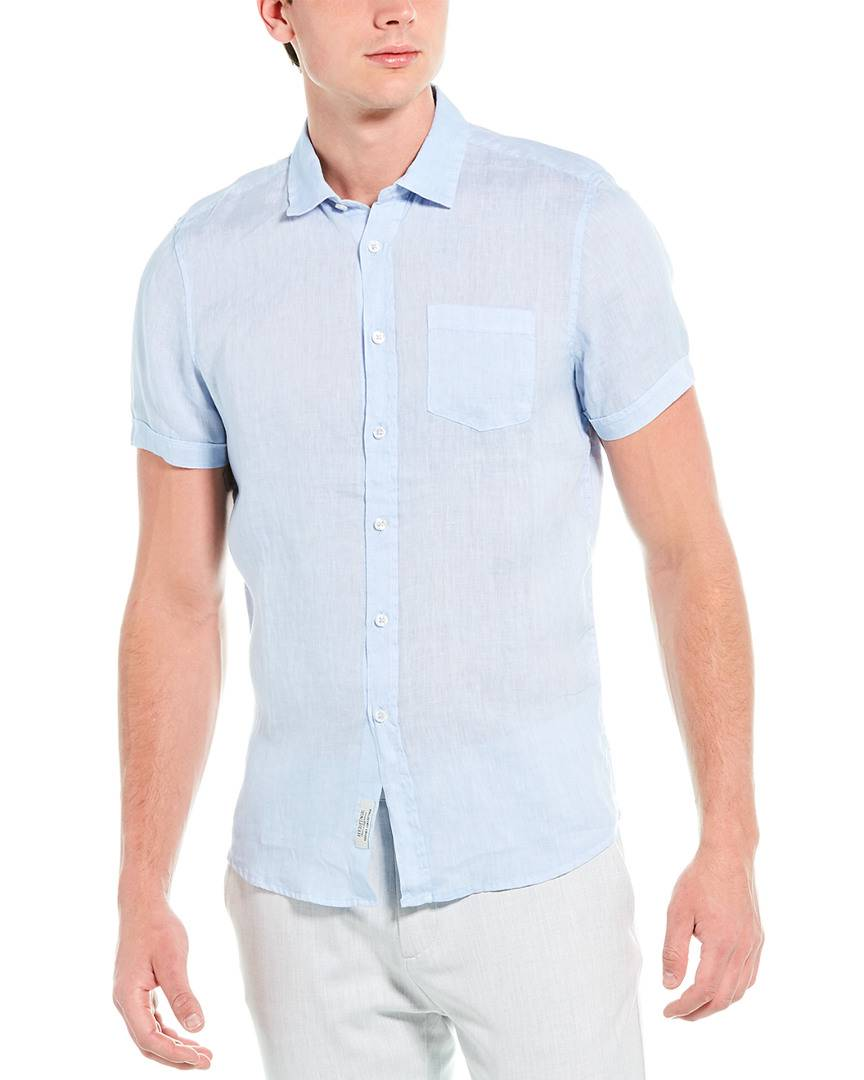 Heritage by Report Linen Sport Shirt  -Blue - Size: Medium