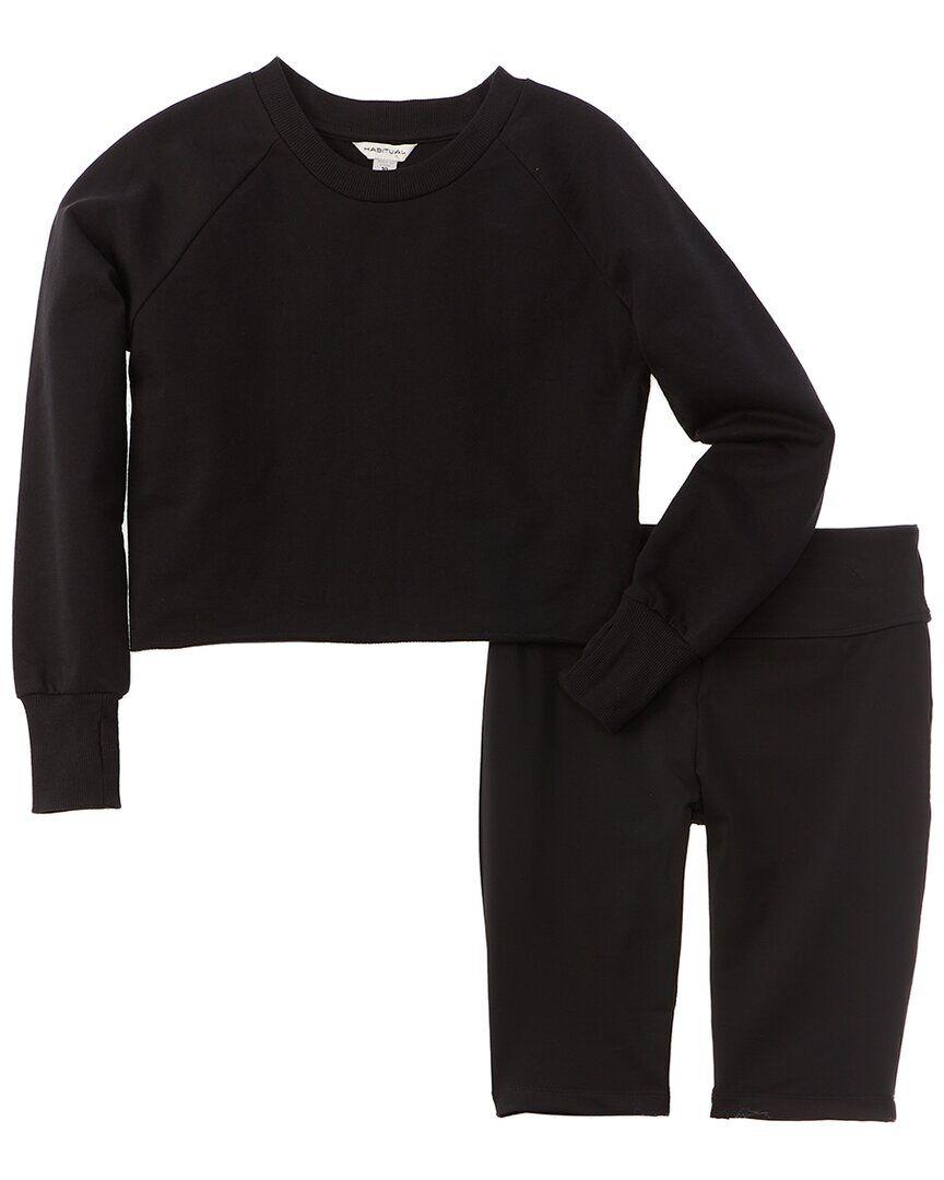 Habitual 2pc Luella Sweatshirt & Bike Short Set  -Black - Size: G7-8