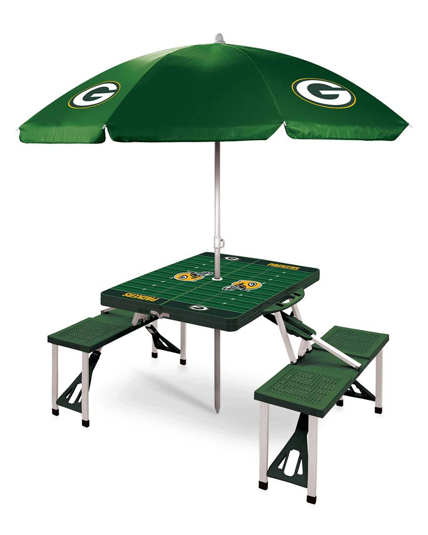 Oniva Green Bay Packers Picnic Table Sport w/Umbrella   - Size: NoSize