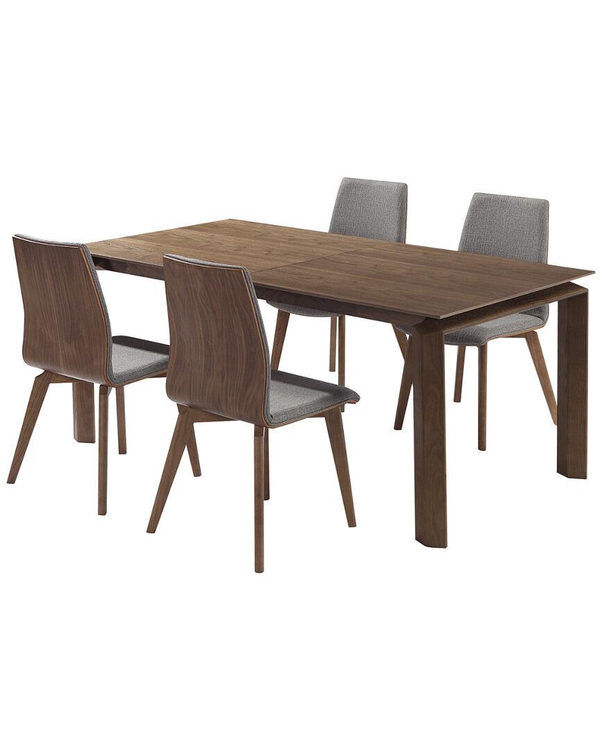 Armen Living Treviso Mid-Century Walnut Wood 5pc Dining Set   - Size: NoSize