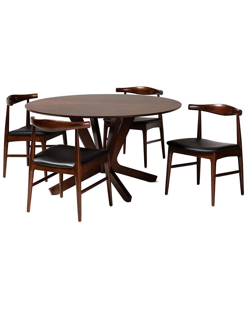 Design Studios Berlin Modern Black Upholstered Walnut Finished 5pc Wood Dining Set   - Size: NS
