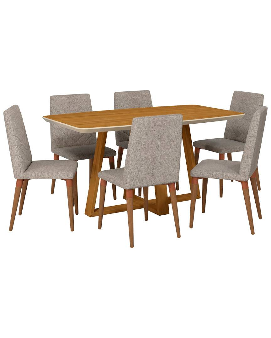 Manhattan Comfort Duffy Rectangle Dining Table and Utopia Dining Chair Set   - Size: NoSize