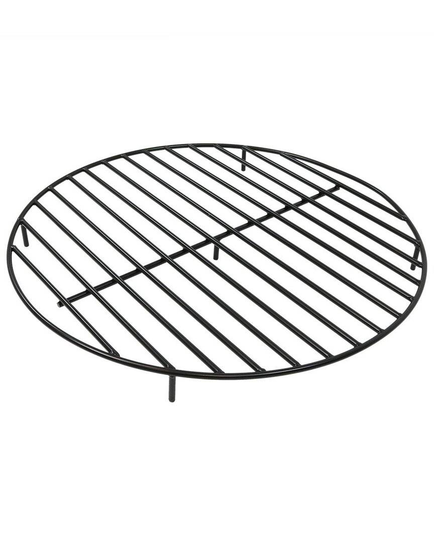Sunnydaze Firewood Grate Round Black Steel Outdoor Fire Pit Accessory  -Black - Size: NoSize