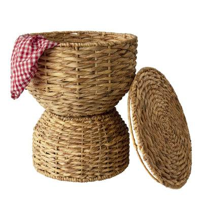 MadeTerra Multipurpose Woven Stool / Wicker Seat, Sofa Table  & Basket for Storage  with Lid