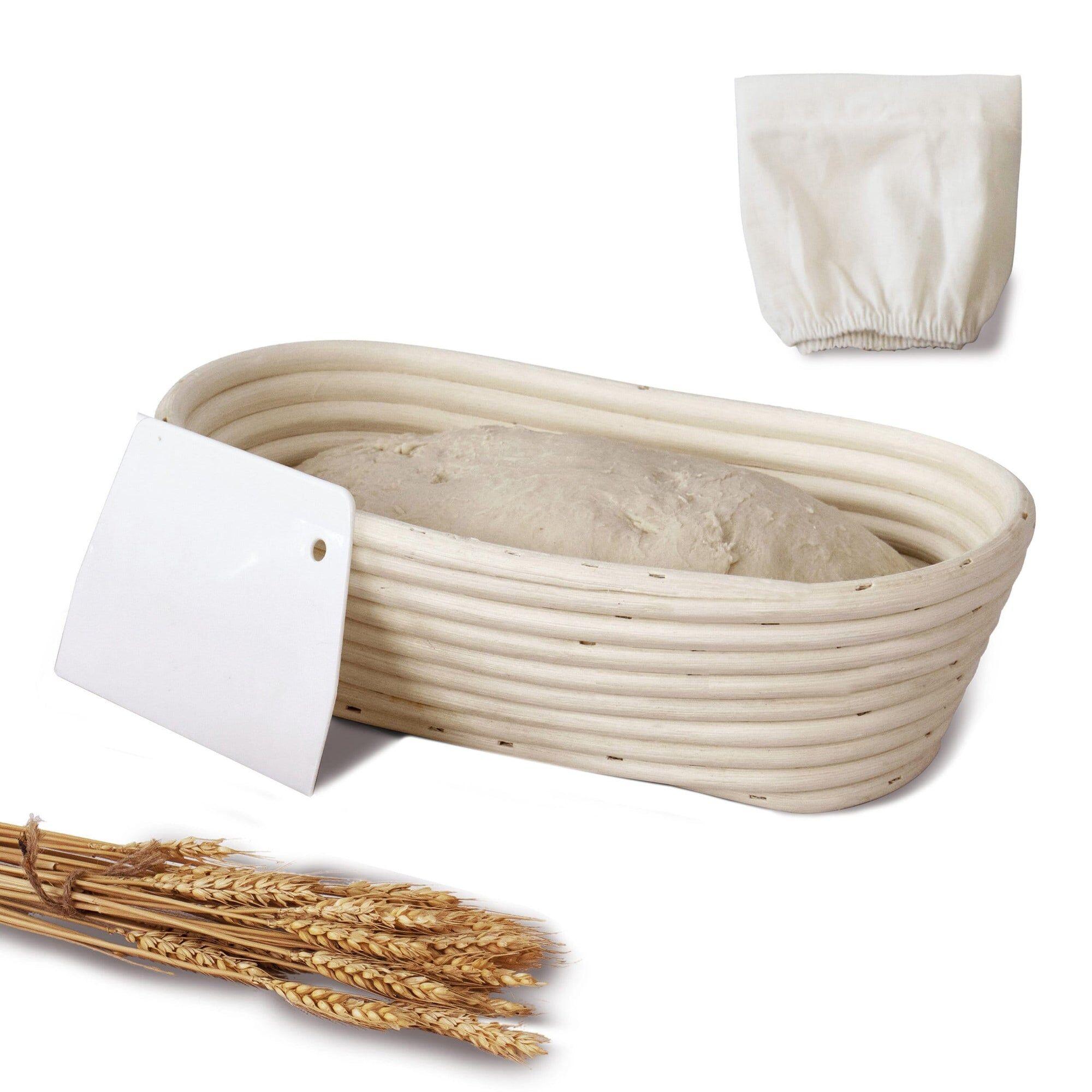MadeTerra 10-inch Oval Rattan Banneton Bread Proofing Basket Set