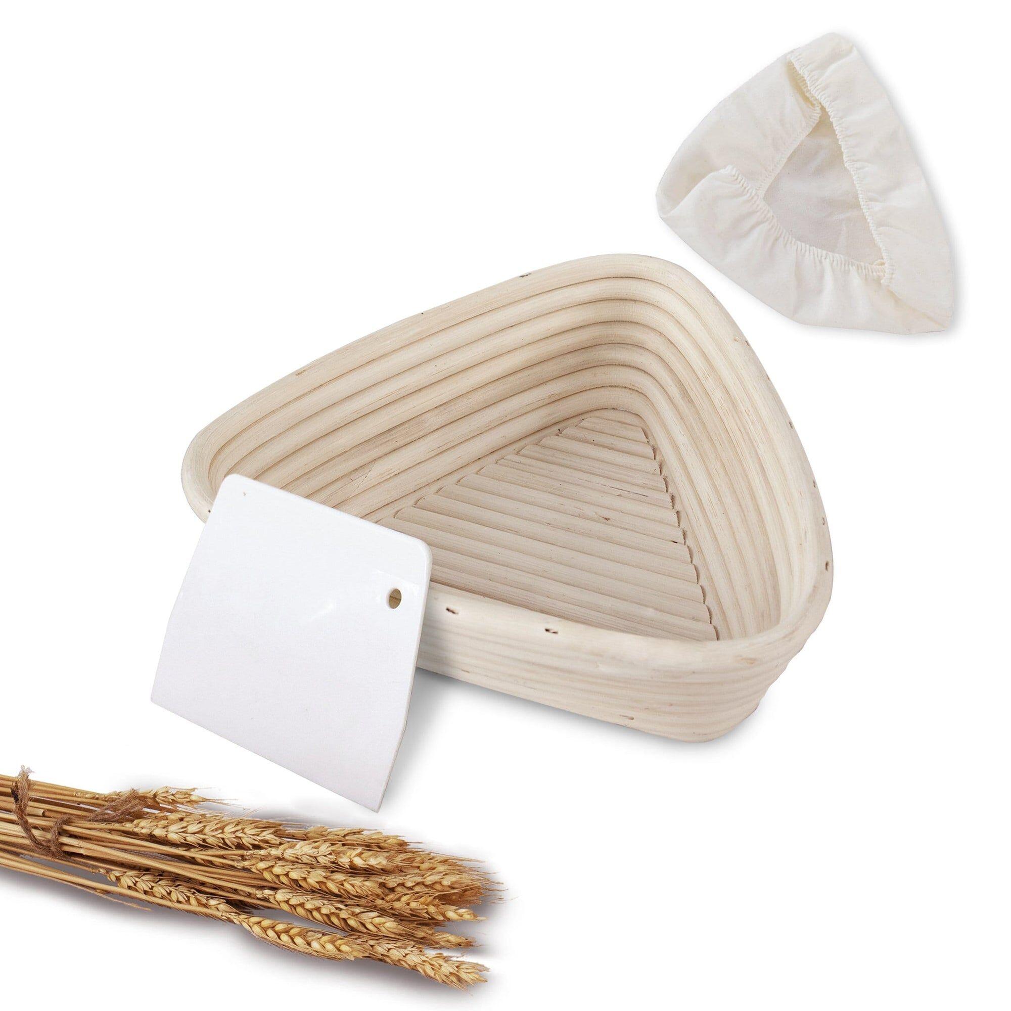 MadeTerra 9-Inch Triangle Banneton Bread Proofing Basket Set