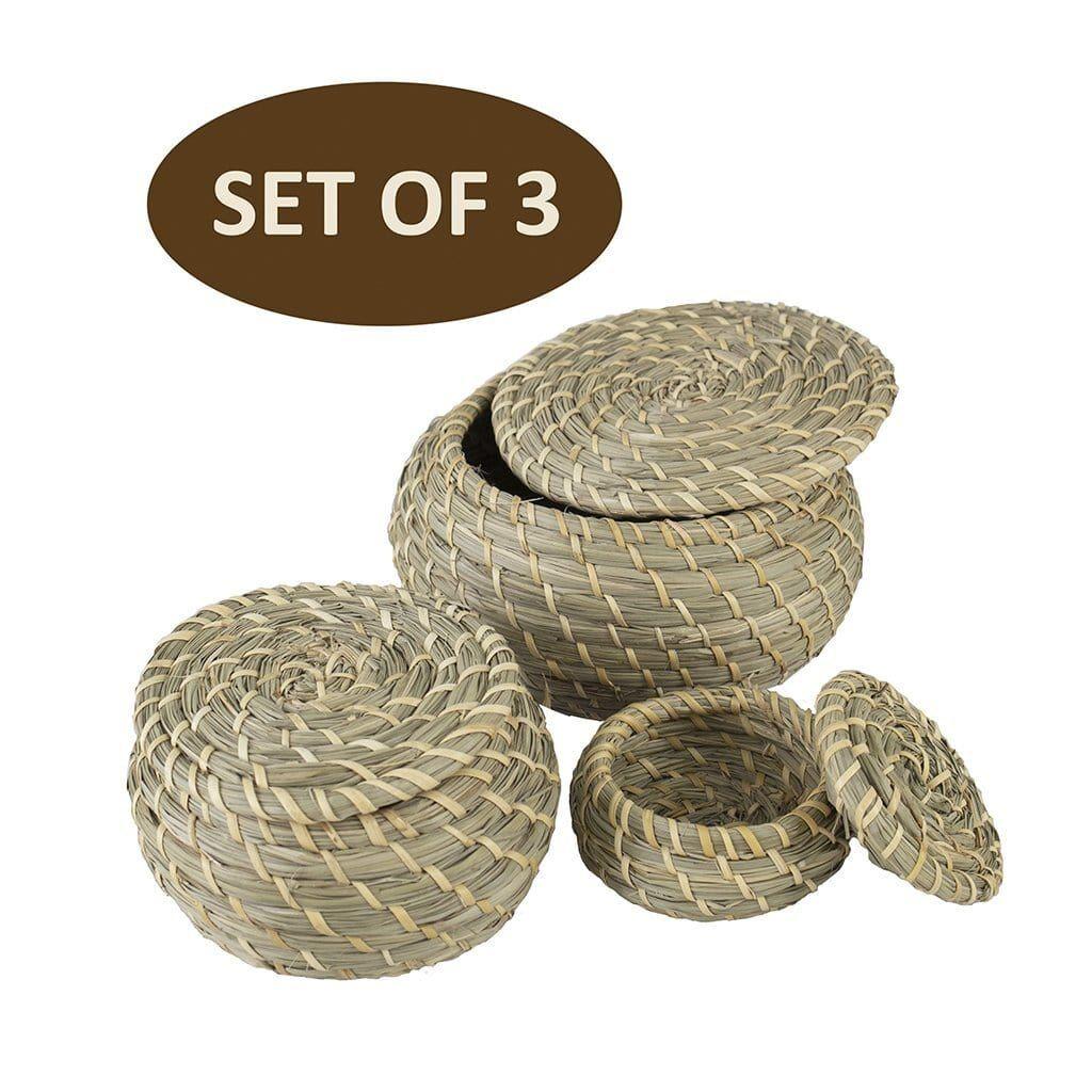 MadeTerra Round Seagrass Lidded Storage Bin Set