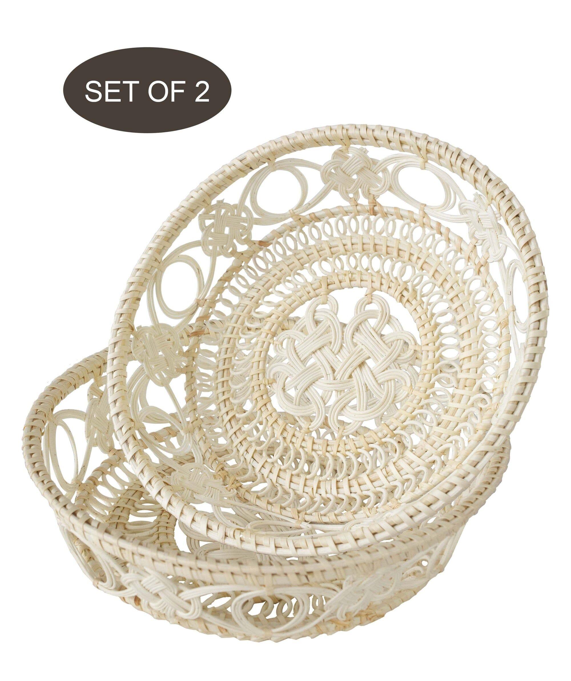 MadeTerra Wicker Wire Fruit Basket Bowls (Vintage White)