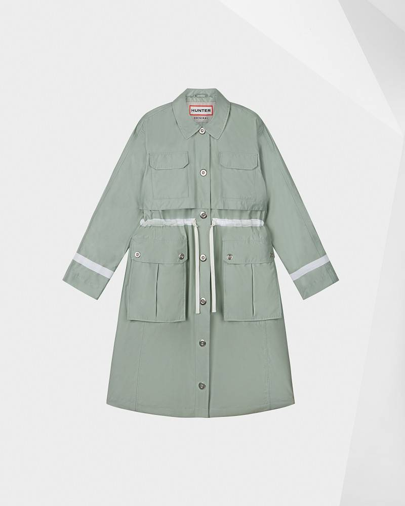 Hunter Boots Women's Refined Waterproof Garden Trench Coat  - Green - Size: Extra Small