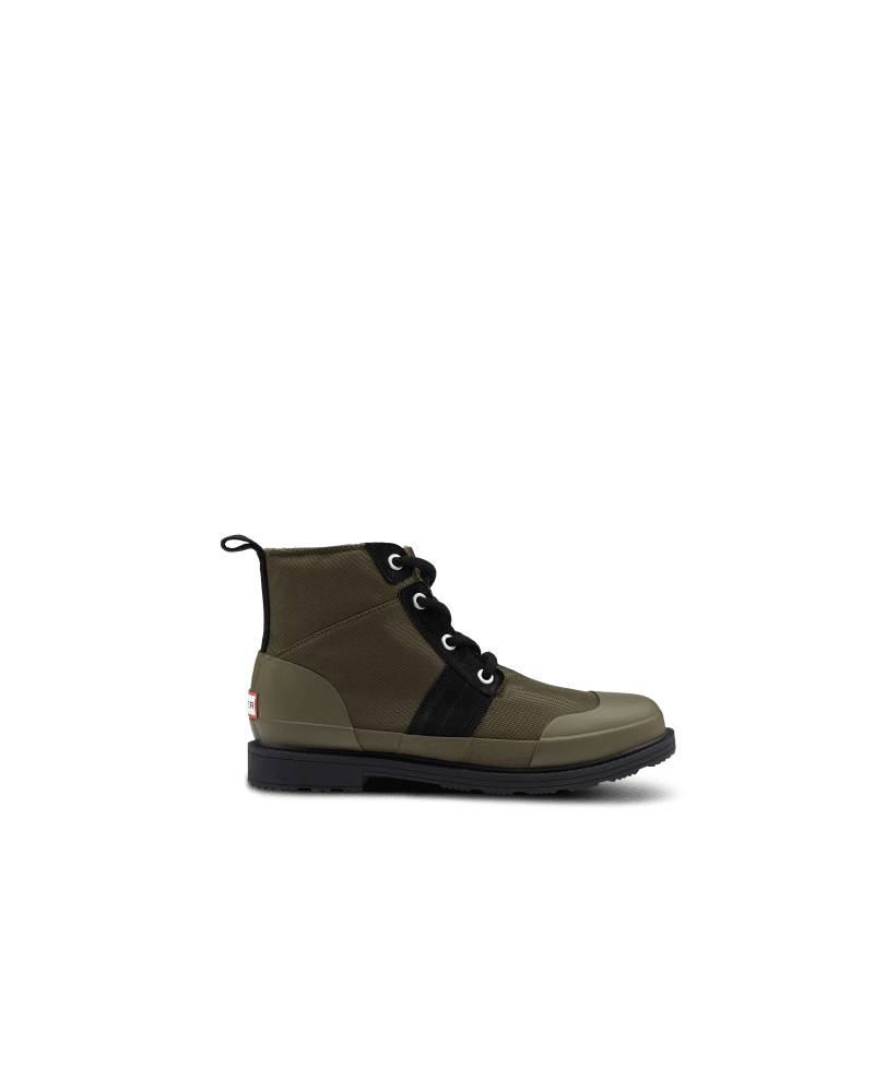 Hunter Boots Men's Original Insulated Ankle Commando Boot  - Black/Green - Size: US 11
