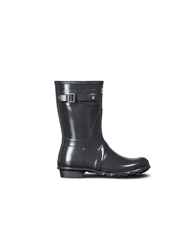 Hunter Boots Women's Original Short Gloss Rain Boots  - Grey - Size: US 10