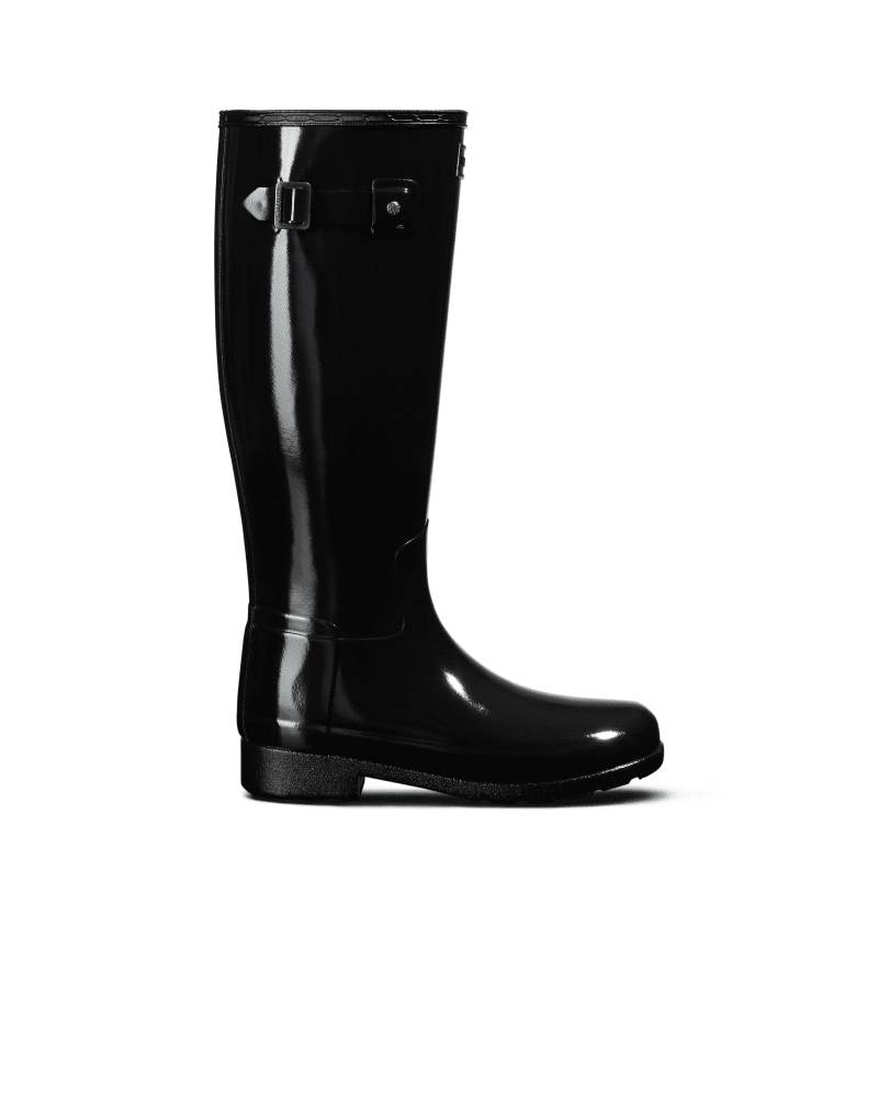 Hunter Boots Women's Original Refined Tall Gloss Rain Boots  - Black - Size: US 10