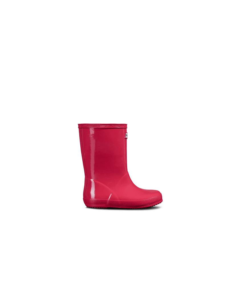 Hunter Boots Original Kids First Classic Gloss Rain Boots  - Pink - Size: US 9