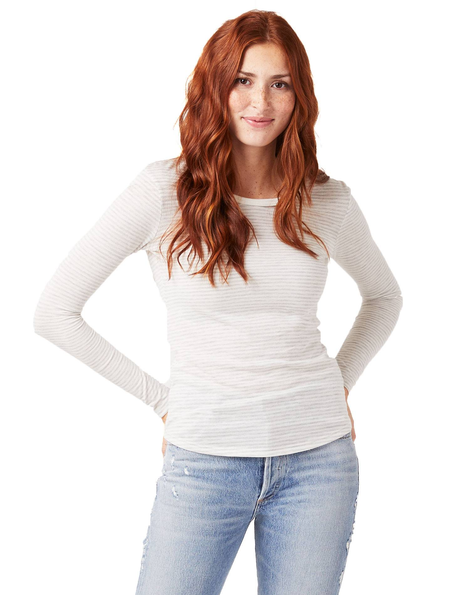 Alternative Apparel Keepsake Striped Eco-Jersey Long Sleeve T-Shirt - Eco Light Grey Classic Stripe - Size: L