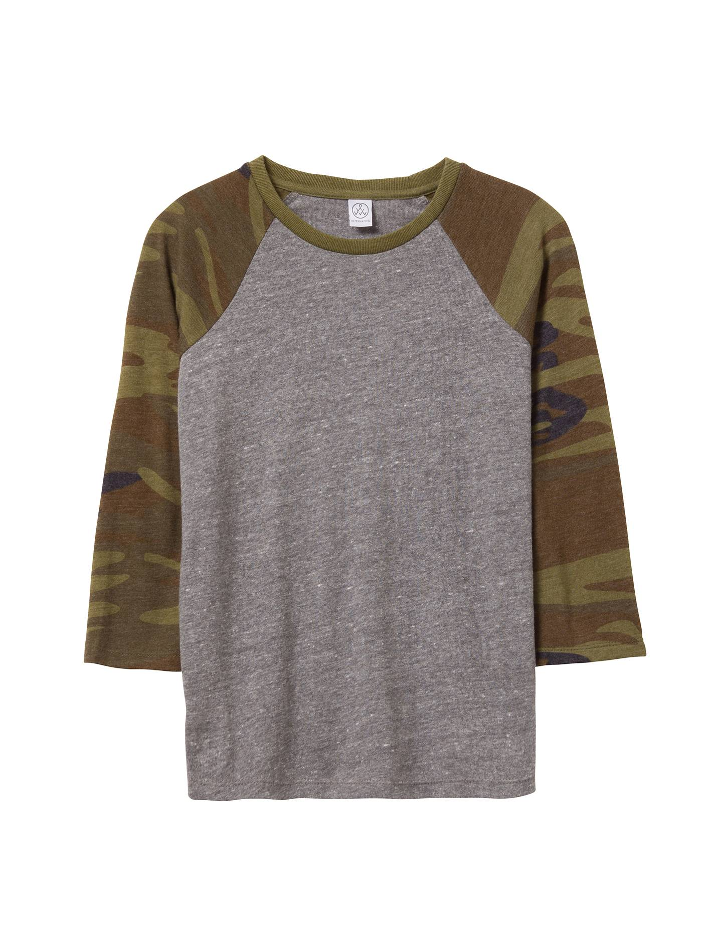 Alternative Apparel Baseball Printed Eco-Jersey Youth T-Shirt - Eco Grey & Camouflage Green - Size: YS