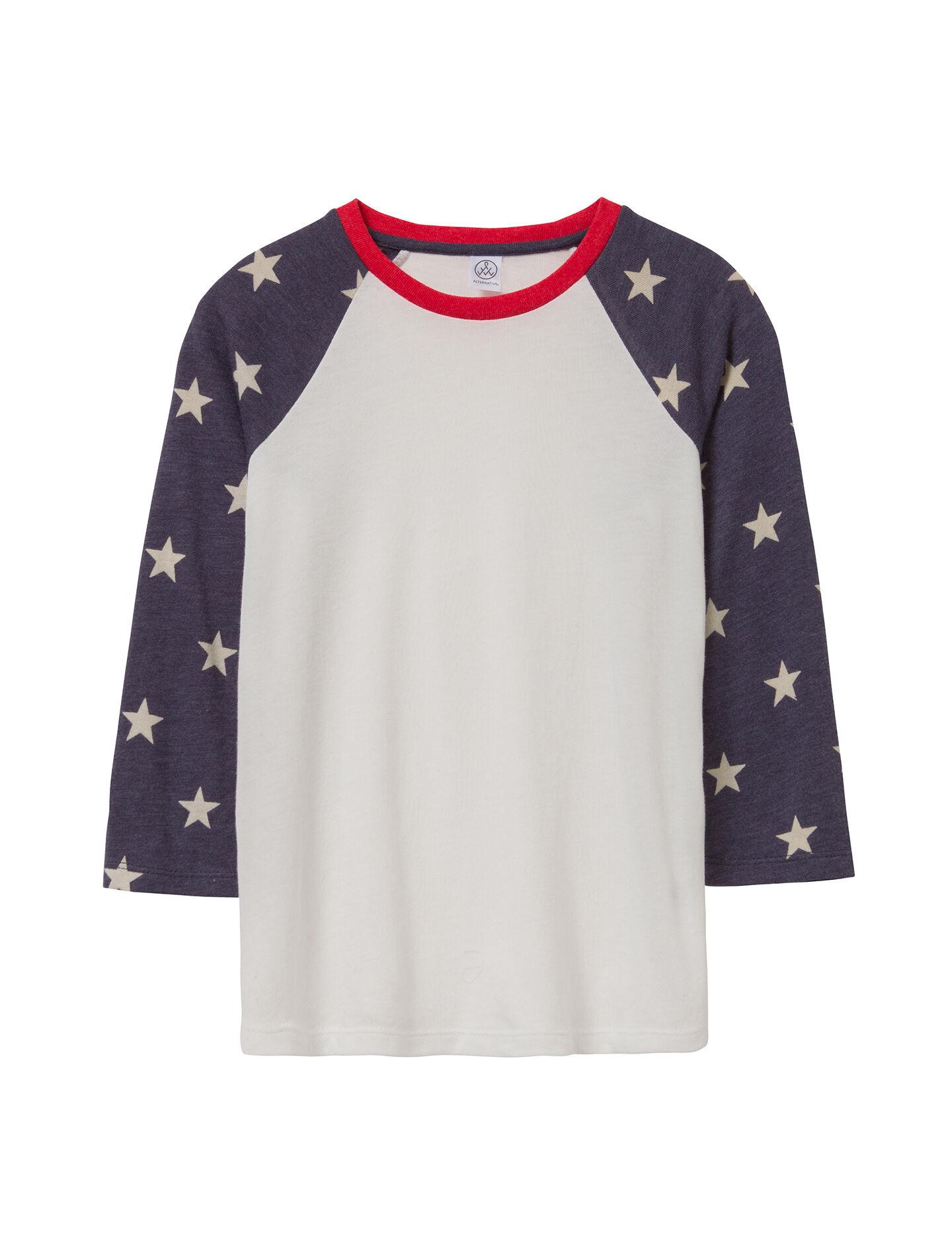 Alternative Apparel Baseball Printed Eco-Jersey Youth T-Shirt - Stars - Size: YM