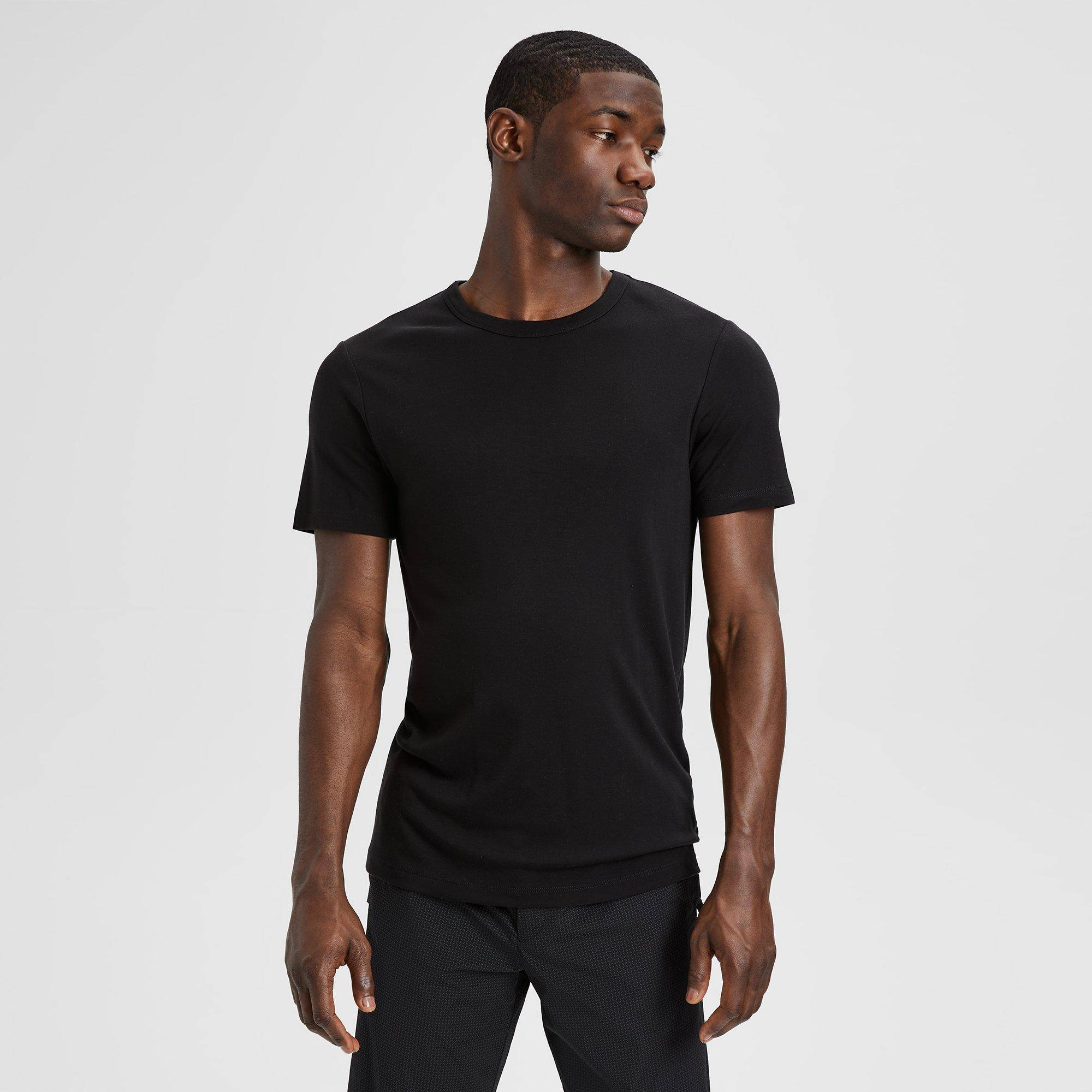 Theory Lyocell Essential Tee  - BLACK - male - Size: Extra Small