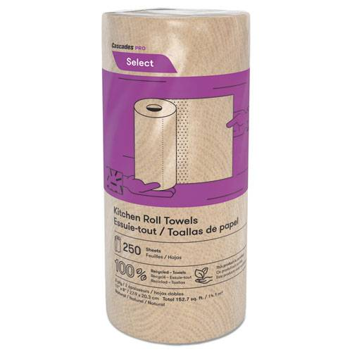 "Select Kitchen Roll Towels, 2-Ply, 11"" x 166.6 ft, Natural, 250/Roll, 12/Carton"